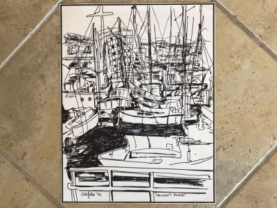 Original Merwin Altfeld (1931-2007) Vintage 1970 Ink Drawing Titled 'Newport Beach' 11 X 14 (JKE)