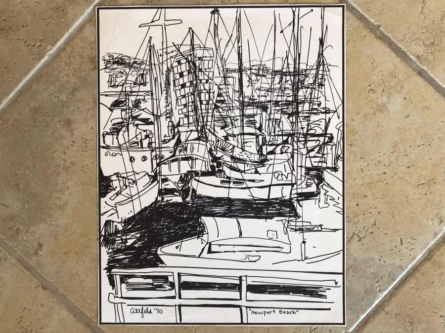 Original Merwin Altfeld (1931-2007) Vintage 1970 Ink Drawing Titled 'Newport Beach' 11 X 14 (JKE)