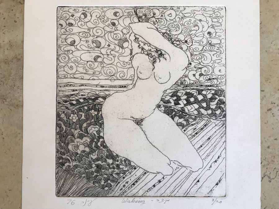 Vintage 1976 Hand Signed Nude Sixties Vibe Etching Titled 'Waking' Signed By Artist 8 X 9 (JKE)