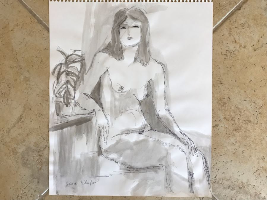 Original Jean Klafs Nude Ink And Wash Painting Of Woman On Paper 14 X 17