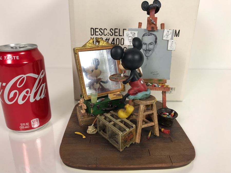 Disney's Mickey Mouse Self-Portrait Figurine By Charles Boyer Reminiscent Of Norman Rockwell With Box 7.5H [Photo 1]