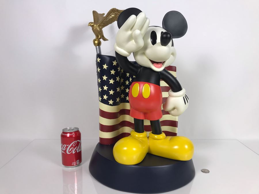 The Art Of Disney Theme Parks Large Patriotic Mickey Mouse Salutes With Box 14W X 22H [Photo 1]