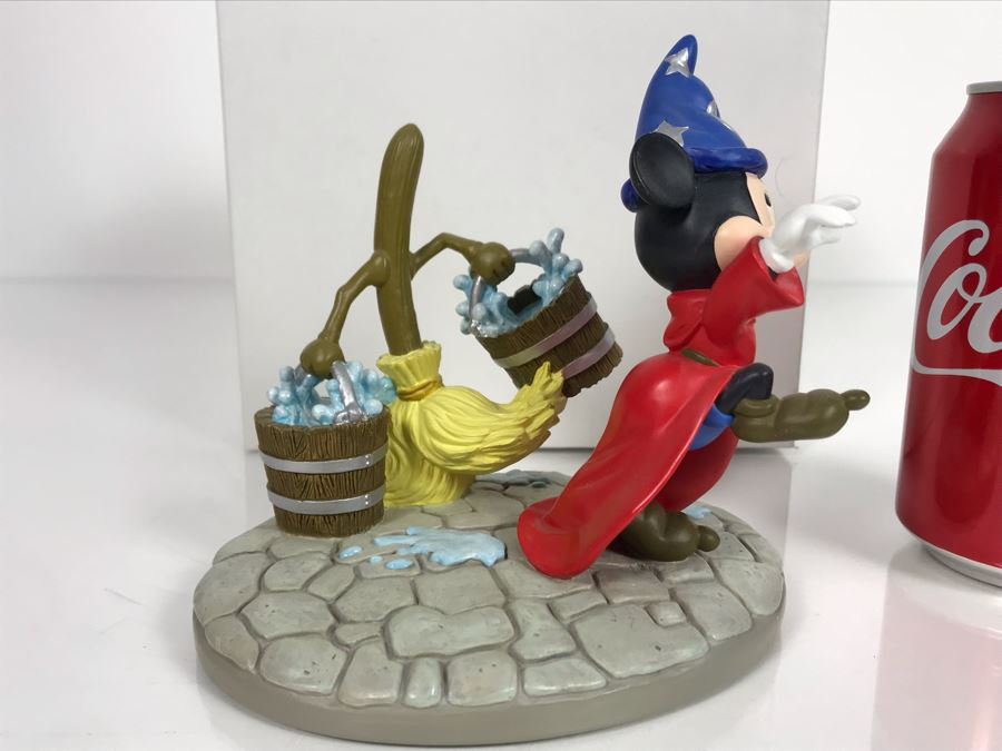 Disney's Animated Classics Mickey Mouse Sorcerer With Dancing Broom Figurine With Box 6.5W X 5.5H [Photo 1]