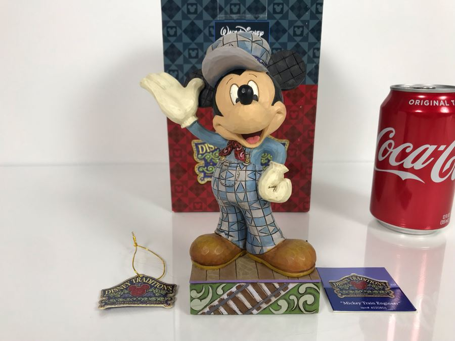 The Art Of Disney Theme Parks Walt Disney Showcase Collection 'Mickey Mouse Train Engineer' #4020805 Enesco With Box 6.25H [Photo 1]