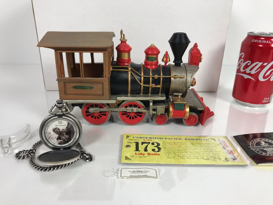 Limited Edition Carolwood Pacific Railroad No. 173 Lilly Belle Train 2002 Walt Disney Theme Park With Limited Edition Walt Disney Pocket Watch With Box [Photo 1]