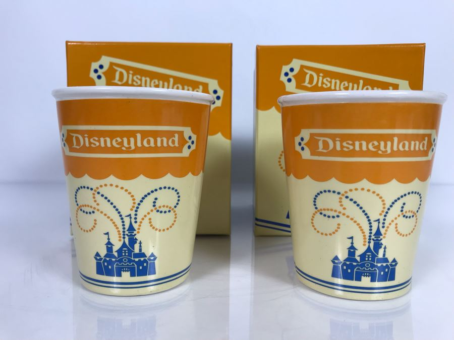 Pair Of Ceramic Reproduction 1950s Disneyland Park Paper Soda Cups 4.25'H Adapted By Kevin & Jody LE 1955 With Boxes (Estimate $200-$600) [Photo 1]