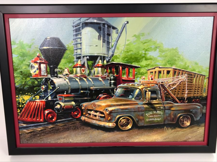 Hand Signed Chip Foose Limited Edition Framed Print On Canvas Titled 'Tow Mater In Training' With Certificate Of Authenticity 27 X 18 [Photo 1]