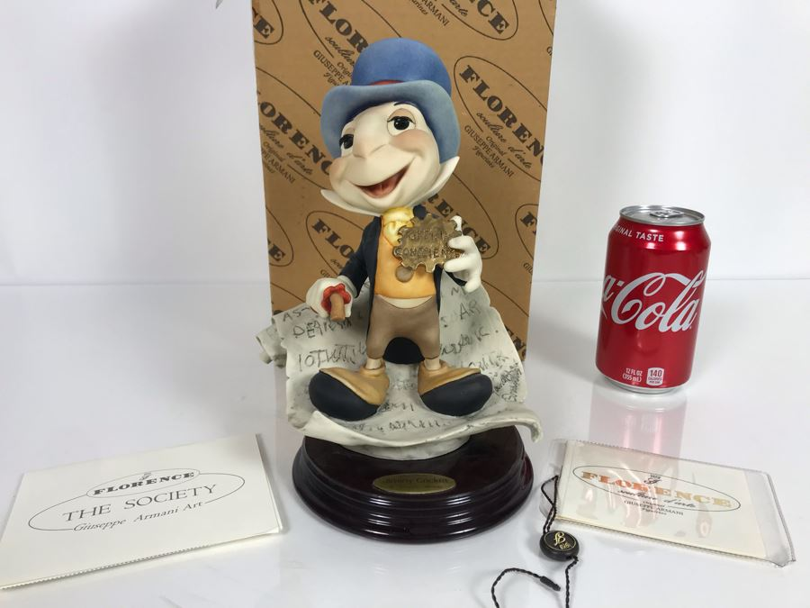 Walt Disney's Jiminy Cricket Sculpture Figurine By Florence Original Giuseppe Armani Figurine 9'H Made In Italy With Box Retails $375 [Photo 1]