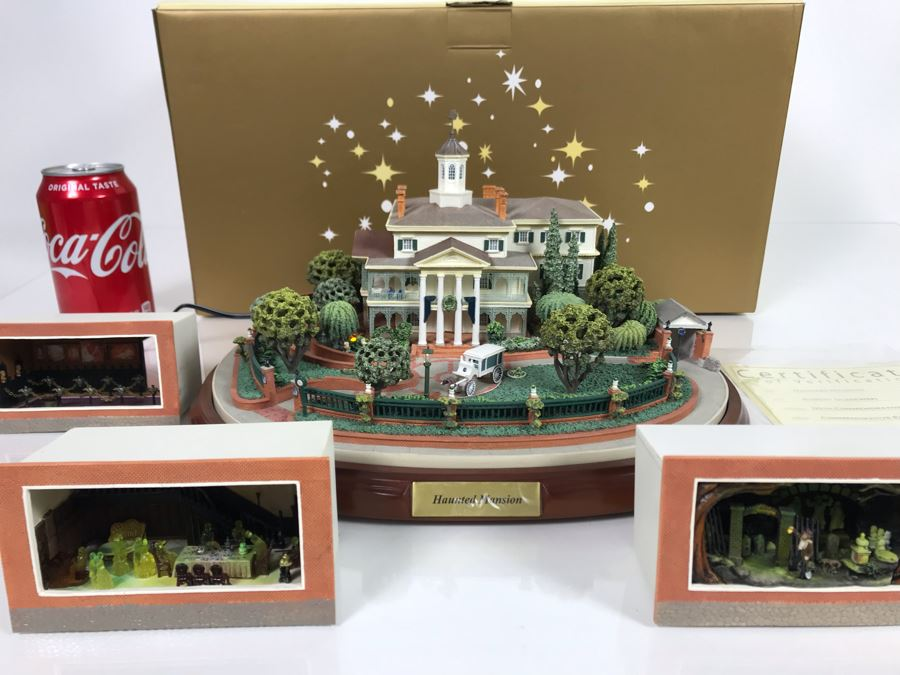 Rare HAND SIGNED By Robert Olszewski Disneyland's Haunted Mansion Ride Attraction Miniature Replica With 3 Scenes 50th Commemorative Collection With Certificate Of Authenticity And Box DL1005 (Estimate $700-$1,000) [Photo 1]