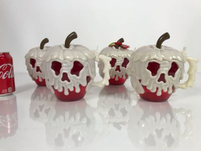 Set Of 4 Disney Parks Poison Apple Glow In The Dark Plastic Mugs 1st-Year Issue Unused