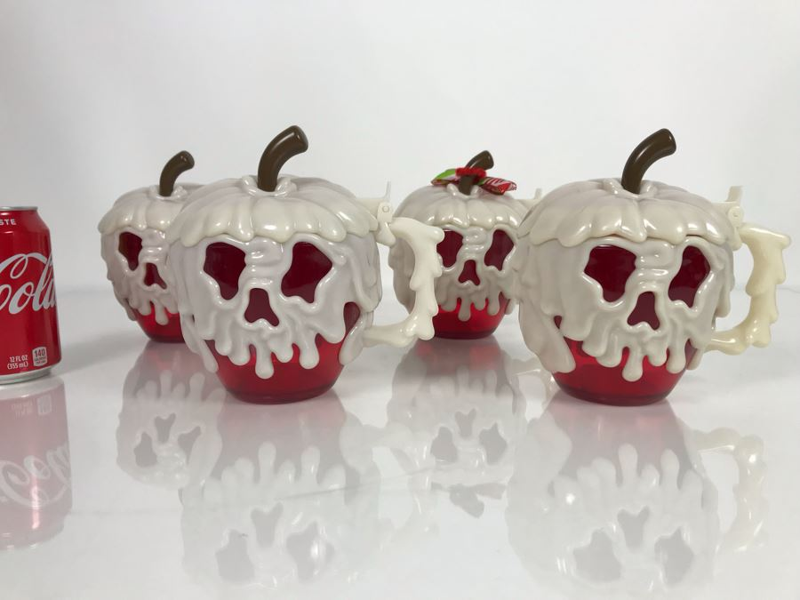 Set Of 4 Disney Parks Poison Apple Glow In The Dark Plastic Mugs 1st-Year Issue Unused [Photo 1]