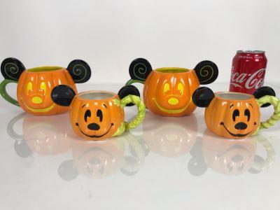 (2) Disney Parks Large 'Happy Halloween' Pumpkin Mugs And (2) Small 'Happy Halloween' Pumpkin Mugs