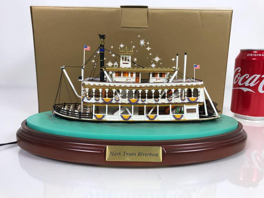 Rare HAND SIGNED By Robert Olszewski Disneyland's Mark Twain Riverboat Ride Attraction Miniature Replica Commemorative Edition With Box DL1003 (Estimate $600-$900) [Photo 1]
