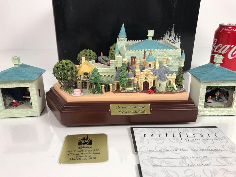 Rare HAND SIGNED By Robert Olszewski First Edition Disneyland's Mr. Toad's Wild Ride Alice In Wonderland Attraction Miniature Replica With Certificate Of Authenticity And Box DL1009 The Art Of Disney Theme Parks (Estimate $600-$1,000) [Photo 1]