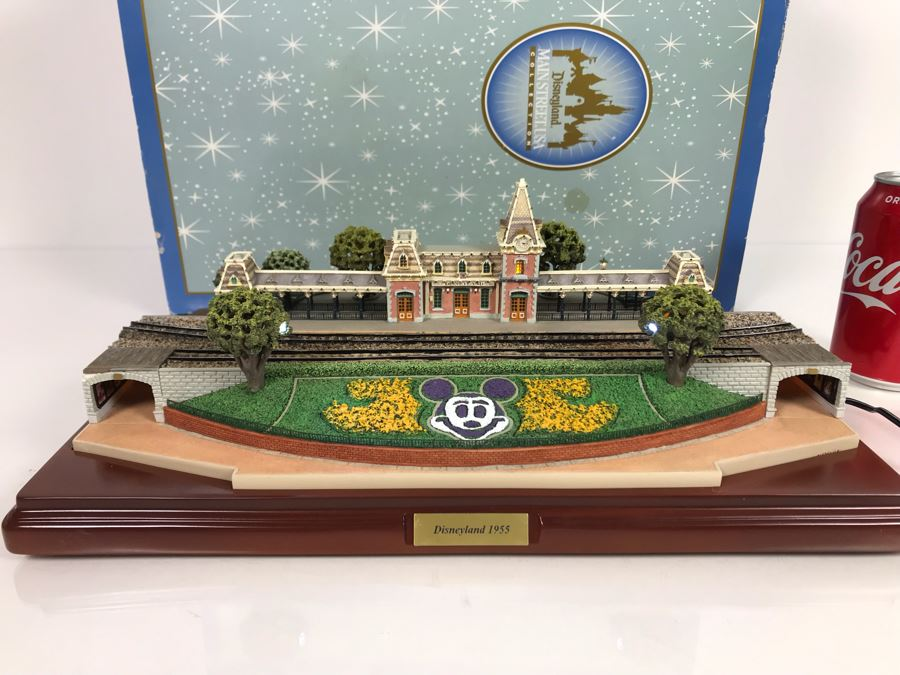 Rare HAND SIGNED By Robert Olszewski First Edition Disneyland's Main Street Station Train Attraction Miniature Replica With Certificate Of Authenticity And Box DL009 Disneyland Main Street USA (Note: Slight Damage To Left Tunnel - Estimate $600-$1,000) [Photo 1]