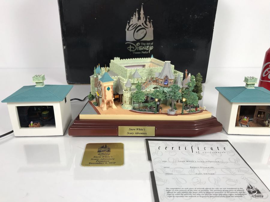 Rare HAND SIGNED By Robert Olszewski First Edition Disneyland's Snow White's Scary Adventure Fantasyland Attraction Miniature Replica With 2 Scenes, Certificate Of Authenticity And Box DL1010 (Last One Sold For $1,500) [Photo 1]