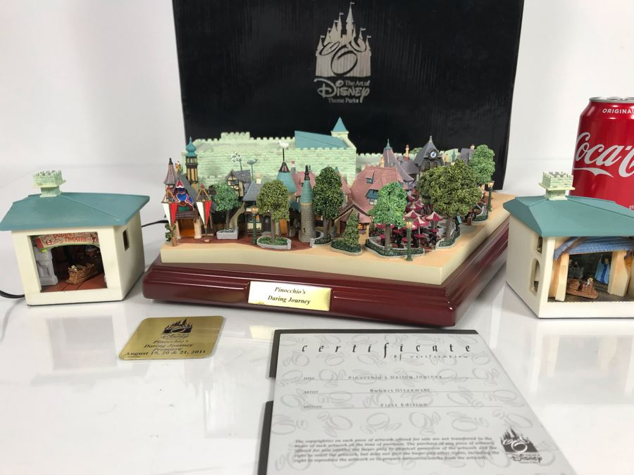 Rare HAND SIGNED By Robert Olszewski First Edition Disneyland's Pinocchio's Daring Journey Fantasyland Attraction Miniature Replica With 2 Scenes, Certificate Of Authenticity And Box DL1011 (Last One Sold For $1,700) [Photo 1]