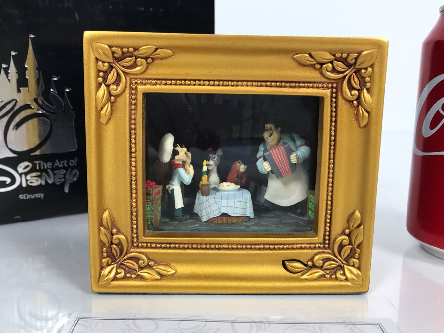 HAND SIGNED By Robert Olszewski Disney's Lady And The Tramp Spaghetti Dinner Scene Gallery Of Light With Certificate Of Authenticity And Box DP-GL005 (Last One Sold For $345) [Photo 1]