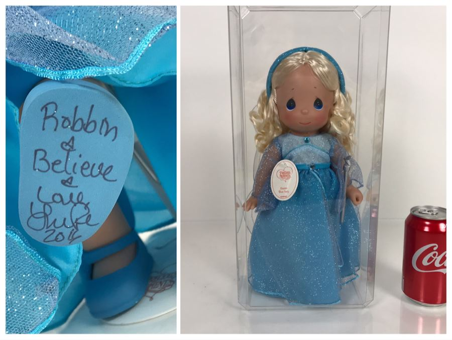 HAND SIGNED By Linda Rick Disney Parks Precious Moments Classic Blue Fairy Disney Doll Item No. 5858 With Acrylic Display Case [Photo 1]