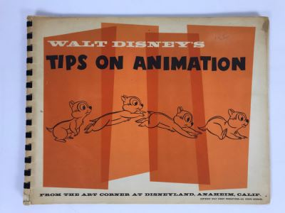 Rare Walt Disney's Tips On Animation Book By Walt Disney Published By The Art Corner At Disneyland (Originally Sold At Disneyland Opening Year)