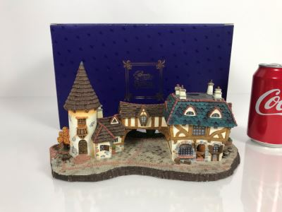 The Bookseller French Village From Disney's Beauty And The Beast Village Figurine With Box (Residual Museum Wax On Bottom)