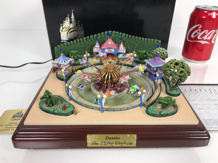 HAND SIGNED By Robert Olszewski First Edition Dumbo The Flying Elephant Mechanized And Working (See Video In Description) The Art Of Disney Theme Park Attraction Miniature Model With Box And Certificate Of Authenticity (Estimate $600-$1,500) [Photo 1]