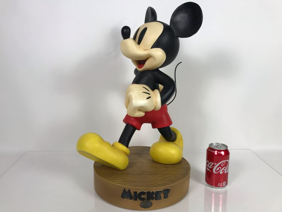 Large Mickey Mouse Figurine From The Disney Store Limited To The Year Of Production 1999 With Stand And Original Box (Mickey Big Fig) First Series To Test Marketability With Box 22'H [Photo 1]