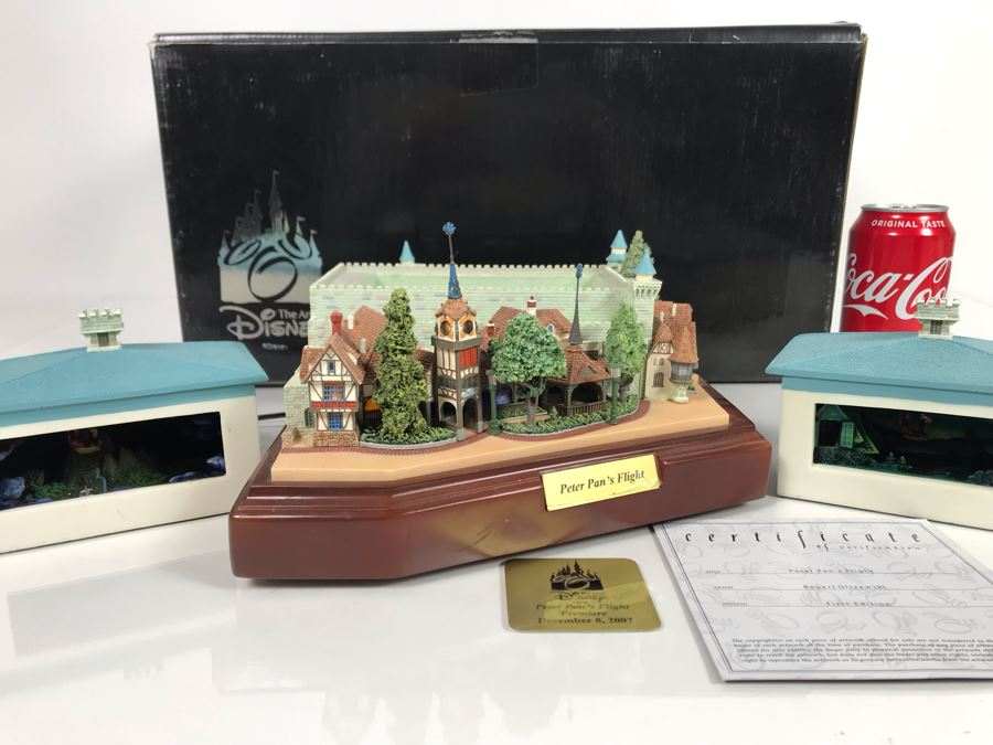 HAND SIGNED By Robert Olszewski First Edition Peter Pan's Flight The Art Of Disney Theme Park Attraction Miniature Model With Box And Certificate Of Authenticity (Estimate $600-$1,500) [Photo 1]