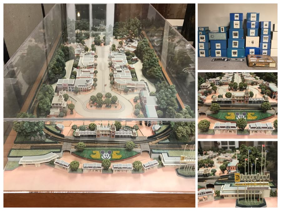 Disneyland's Main Street USA Miniature Model Board COMPLETE FIRST EDITION / Individually HAND SIGNED Models With Original Boxes By Robert Olszewski With Signed Michael Broggie Train And Accessories 6' X 3' Estimate $20,000-$35,000 (SEE DESCRIPTION) [Photo 1]