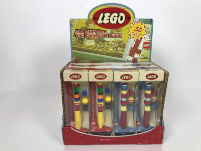 NEW LEGO 50th Anniversary Edition Pens With Store Display Merchandiser Total Of 12 Pens
