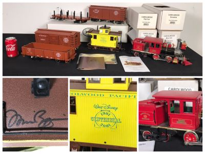 Ward Kimball Hartland Locomotive Works Disneyland Railroad Train Engine W/ SIGNED Michael Broggie Limited Edition Walt Disney's Centennial Carolwood Pacific Caboose Official Disneyana Convention & Carolwood Flat Car, Gondola, Cattle Car And Box Car Train