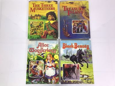 Four Vintage Children's Golden Books: Alice In Wonderland, Black Beauty, The Three Musketeers And Treasure Island