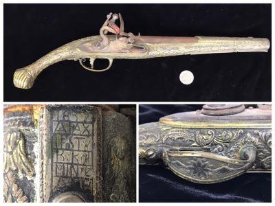 Antique 1857 All Metal Flintlock Pistol 16.5'L