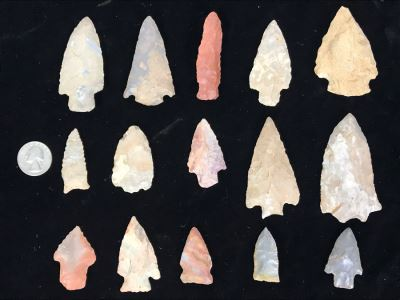 Collection Of (15) Authentic Native American Indian Hand Carved Stone Arrowheads