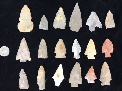 Collection Of (18) Authentic Native American Indian Hand Carved Stone Arrowheads