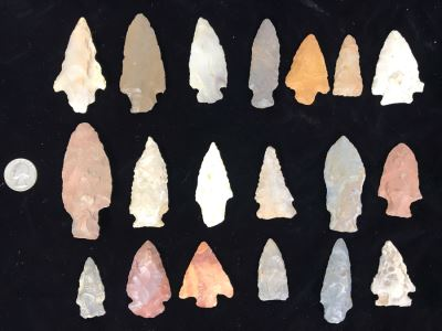 Collection Of (19) Authentic Native American Indian Hand Carved Stone Arrowheads