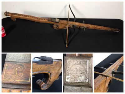 Antique Carved Wooden And Metal Crossbow 53L X 24W - See Photos