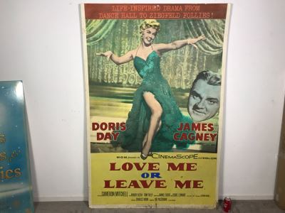 Large 1955 Movie Poster 'Love Me Or Leave Me' Staring Doris Day And James Cagney On Board MGM 4'W X 6'H