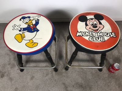 Mickey Mouse Club Bar Stool And Donald Duck Bar Stool By Gilbert & Ryan 13R X 17.5H (Mickey Mouse Stool Is Slighly Wobbly)