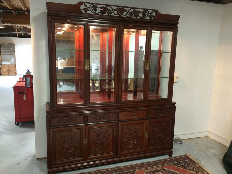 Chinese Rosewood 2 Piece China Cabinet [Photo 1]