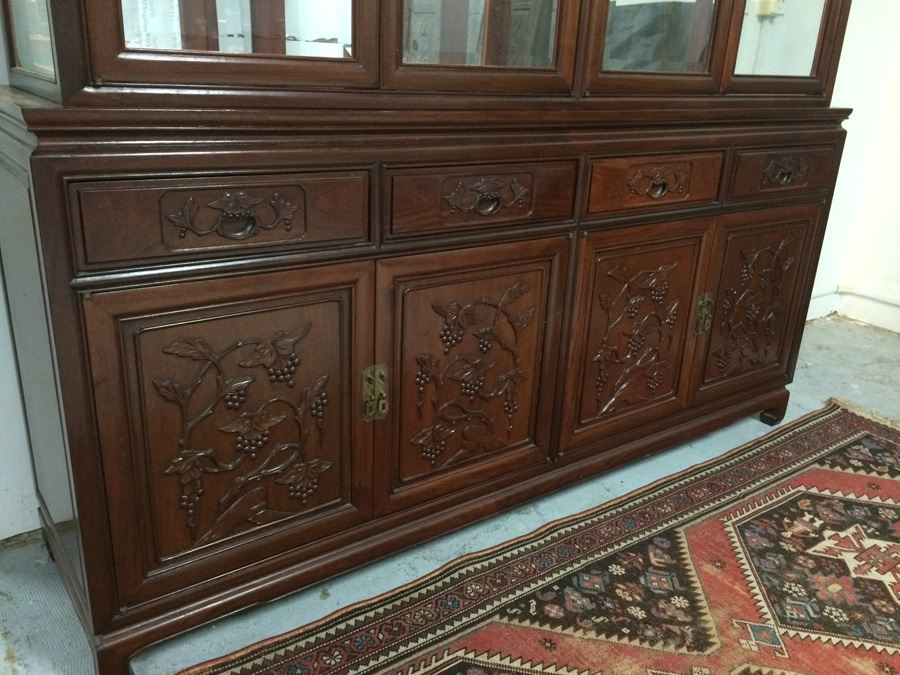 Chinese Rosewood 2 Piece China Cabinet [Photo 2]