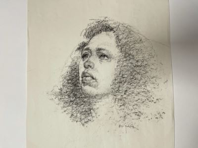 Max Turner Signed Original Face Portrait Drawing On Paper (Handwritten Quote On Back: 'Exaggerate The Essential, Leave The Obvious Vague. - Van Gogh') 11 X 14