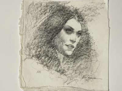 Max Turner Signed Original Face Portrait Drawing On Paper Ava 10 X 11