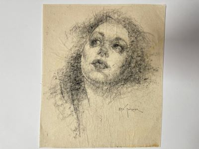 Max Turner Signed Original Face Portrait Drawing On Paper 10 X 12