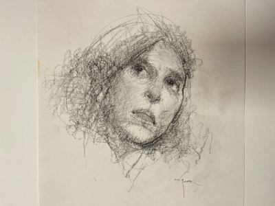 Max Turner Signed Original Face Portrait Drawing On Paper 11 X 12