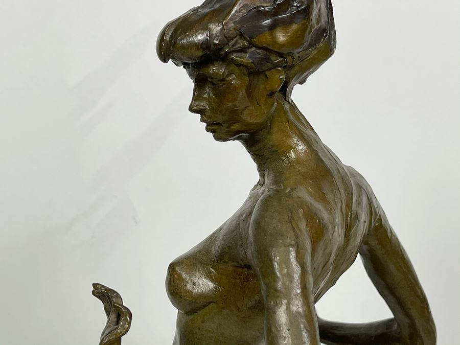 Nude Female Bronze Sculpture on Marble Base