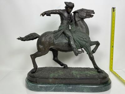 Signed Max Turner Bronze Sculpture On Marble Base Titled 'Paul Revere' After Cyrus Edwin Dallin 21W X 8D X 20H 73lbs