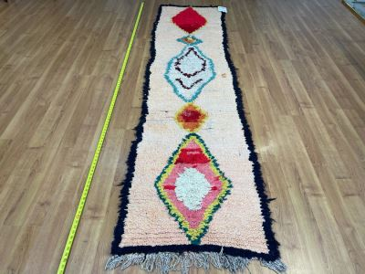 Handwoven Moroccan Rug From The Berber Tribe Boho Feel 10' x 2.6' Retails $1,250