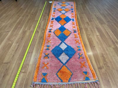 Handwoven Moroccan Rug From The Berber Tribe Boho Feel 9' x 2.6' Retails $1,250