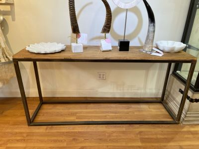 Elm Door Console Table With Metal Base 67'W X 18'D X 32'H Retails $1,675